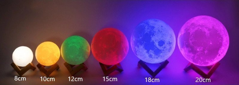 16 colours moon lamp sizes