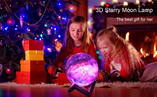 16 Color 3D Galaxy Star Kids LED Luna Lamp 15CM AU